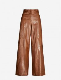 BRUNELLO CUCINELLI High-rise wide brown leather trousers