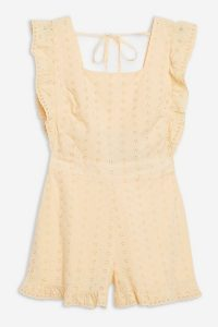 Topshop Buttermilk Broderie Frill Playsuit | ruffled playsuits