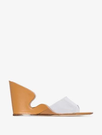 BY FAR Brown Greta Mule Wedges – cut-out wedged heels – sculptured wedge heel