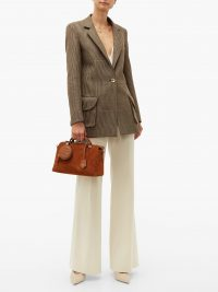FENDI By The Way suede shoulder bag in tobacco-brown