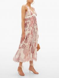 ZANDRA RHODES Cactus Everywhere silk-chiffon midi dress ~ floaty summer event clothing