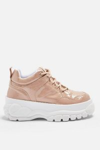 TOPSHOP CAIRO Chunky Trainers in Nude – pink patent thick sole sneakers