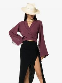 Caravana Xiibil Wrap Top in Purple – fringed kimono sleeve tops