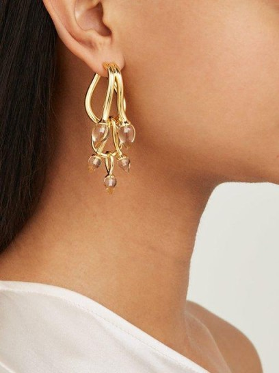 RYAN STORER Chain of Tears 14kt gold-plated three tiered earrings ~ cascading statement drops