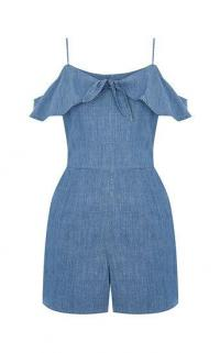 OASIS CHAMBRAY BARDOT PLAYSUIT in DENIM / blue cold shoulder playsuits