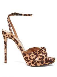 AQUAZZURA Chance 115 leopard-print faille platform sandals beige