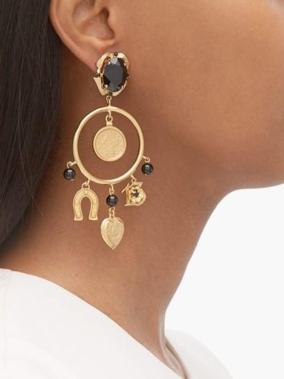 DOLCE & GABBANA Charm-embellished hoop clip earrings