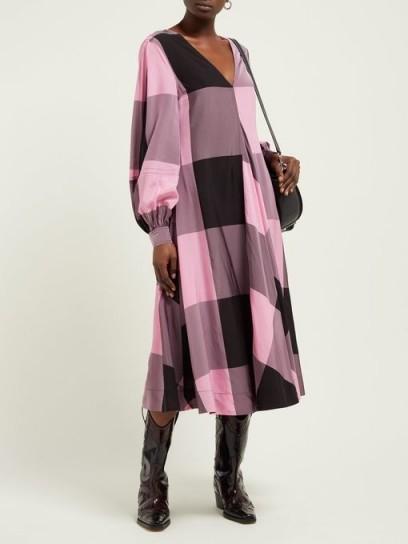 GANNI Striped cotton-blend seersucker midi dress ~ large pink and black checks