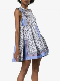 Chloé Bandana Print Tiered Sleeveless Dress in Blue | flared summer mini dresses
