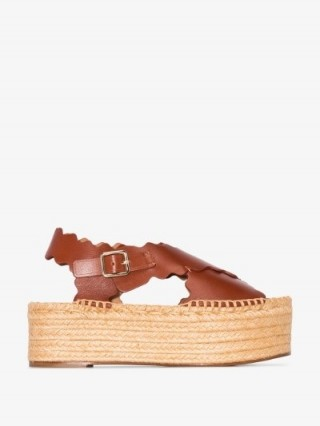 Chloé Brown Lauren Leather Flatform Espadrilles | jute flatforms