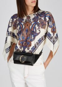 CHLOÉ Chloé C black leather belt bag / luxe fanny pack