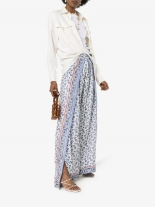 Chloé Blue Fold-Over Front Silk Bandana Trousers | pretty floral pants