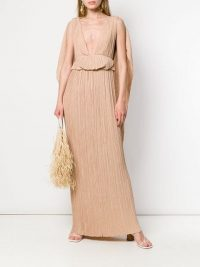 CHLOÉ pleated cape gown in sand-brown ~ luxe event dresses ~ statement gowns