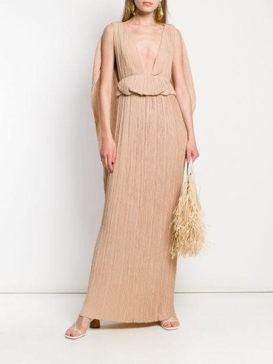CHLOÉ pleated cape gown in sand-brown ~ luxe event dresses ~ statement gowns - flipped