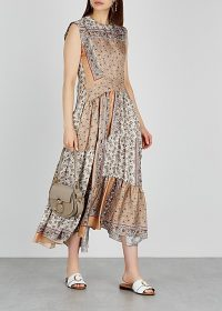 CHLOÉ Printed silk-twill midi dress caramel and ivory.