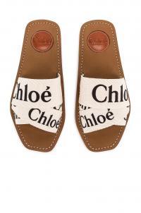CHLOE Logo Sandals White / designer slides