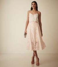 REISS CHLOE BURNOUT FLORAL MIDI SKIRT PINK ~ chiffon devore skirts