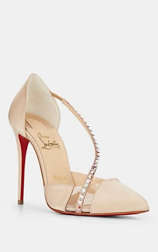 CHRISTIAN LOUBOUTIN Krystal Spikes Beige Satin & PVC Pumps ~ luxe spiked asymmetric front court shoes