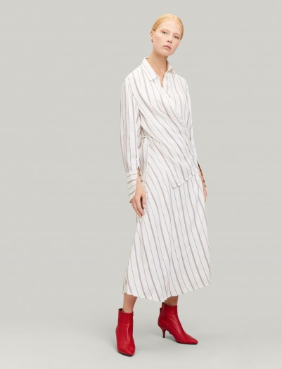 Emily Ratajkowski striped midi dress, JOSEPH Claudi Rayon Stripe Dress, out in New York, 24 May 2019 | celebrity street style