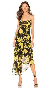 C/MEO On And Off Midi Dress Black Abstract | floral asymmetric slip dresses