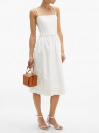 MARNI Coated white tweed midi dress ~ strappy summer dresses