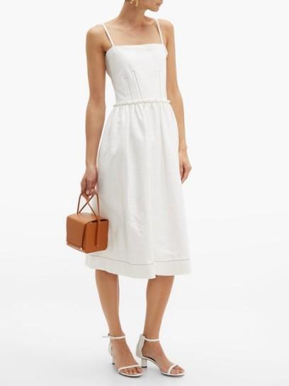 MARNI Coated white tweed midi dress ~ strappy summer dresses