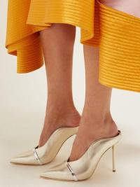 MALONE SOULIERS Constance gold-leather mules ~ metallic pointy toe stiletto heels