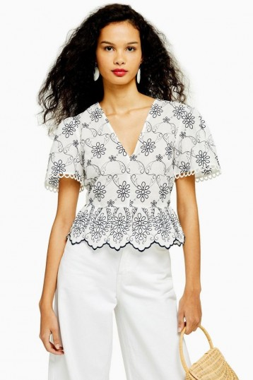TOPSHOP Contrast Embroidered Topin Monochrome / floral peplum blouse