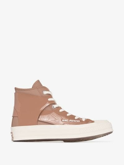 Converse Brown And White X Feng Chen Wang Chuck 70 Leather High Top Sneakers – girl power slogan trainers