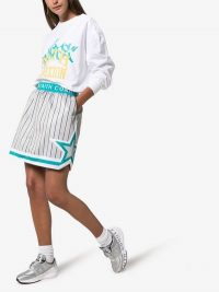 Converse X Faith Connexion Reversible Basketball Skirt in Grey and Blue | striped skirts