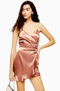 Topshop Copper Mini Ruffle Slip Dress | wrap style frill trimmed cami frock