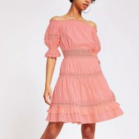 River Island Coral lace bardot dress | off the shoulder peasant dresses