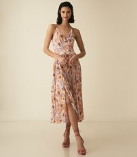 REISS CORINNE FLORAL PRINTED MIDI DRESS PINK ~ feminine summer event wear