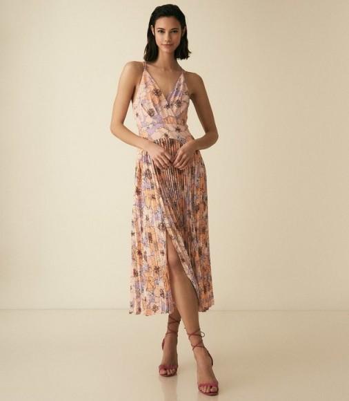 REISS CORINNE FLORAL PRINTED MIDI DRESS PINK ~ feminine summer event wear