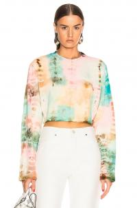 COTTON CITIZEN Tokyo Crop Long Sleeve Tee Kaleidoscope Sky / tie dye top