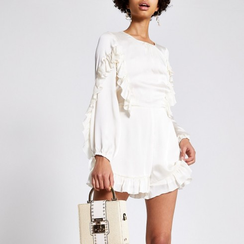 RIVER ISLAND Cream ruffle playsuit – party playsuits