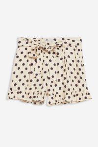 Topshop Cream Spotted Frill Hem Shorts | vintage look summer fashion