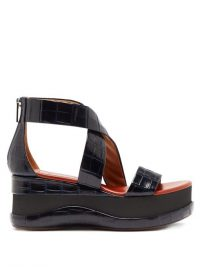 CHLOÉ Crocodile-embossed leather flatform sandals / navy blue cross strap flatforms