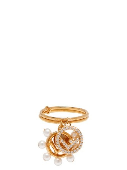 FENDI Crystal and faux pearl-embellished charm ring ~ designer jewellery