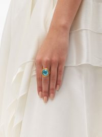 VERSACE Blue crystal dome ring