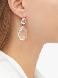 ALEXANDER MCQUEEN Clear crystal-embellished pear-drop earrings