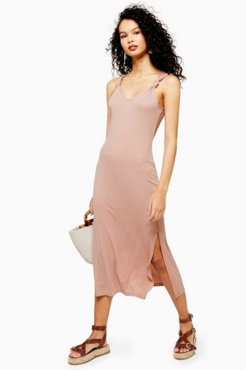 Topshop Cupro Knot Midi Dress in Toffee | silky summer day dresses