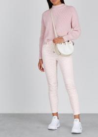 CURRENT/ELLIOTT The High Waist Stiletto leopard-print jeans / pink denim skinnies