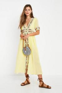 Violet Skye Embroidered Midi Dress in Yellow / boho summer floral dresses