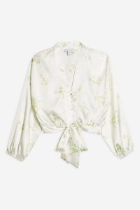 Topshop Daisy Belted Plunge Blouse Ivory | tie waist blouses