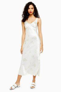 Topshop Daisy Print Slip Midi Dress Ivory | floral summer dresses