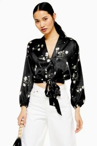 TOPSHOP Daisy Satin Tie Front Blouse in black