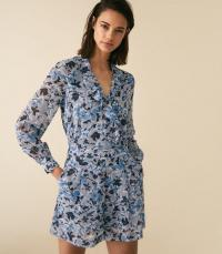 REISS DAMSEN FLORAL PRINTED PLAYSUIT MULTI BLUE ~ front ruffle playsuits with soft pleats