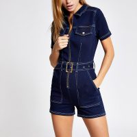RIVER ISLAND Dark blue belted denim playsuit