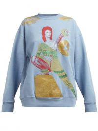 UNDERCOVER David Bowie-print loop-back cotton sweatshirt in blue ~ metallic motif sweat top